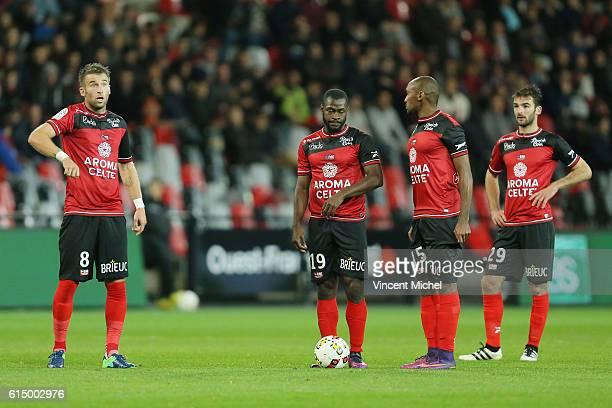 Lucas Deaux, Yannis Salibur, Jeremy Sorbon of Guingamp and Christophe Kerbrat of Guingamp during the Ligue 1 match between EA Guingamp and Lille OCS...