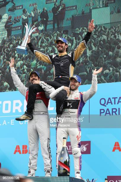 Lucas di Grassi JeanEric Vergne and Sam Bird on the podium after the Formula EPrix on April 28 2018 in Paris France