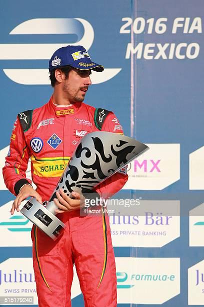 Lucas di Grassi of Brazil and ABT Schaeffler Audi Sport celebrates after winning the Mexico City Formula E Championship 2016 at Autodromo Hermanos...