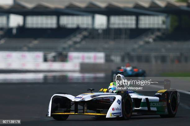 Lucas Di Grassi of Brazil from Audi Sport ABT Schaeffler drives during the Mexico EPrix practice li as part of the Formula E Championship at...