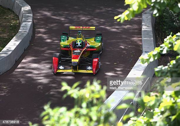 Lucas Di Grassi of team Audi Sport ABT in action during the FIA Formula E Visa championship ePrix at battersea park on June 27 2015 in London England