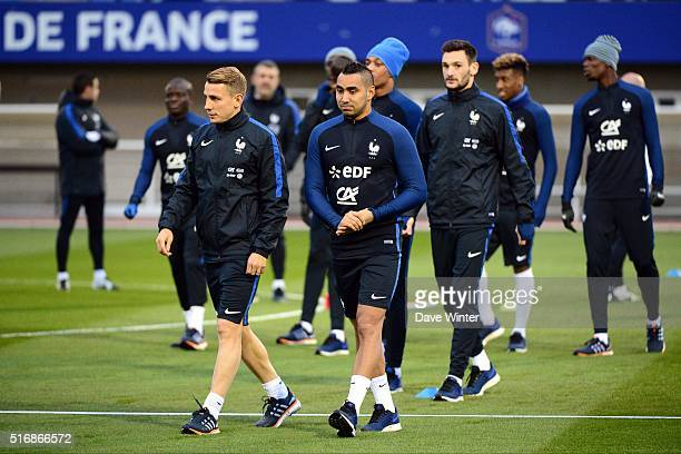 Lucas Digne and Dimitri Payet of France during training on the first day of their training ahead of the friendly football match against Netherlands...