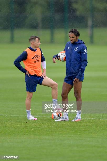 Lucas Digne and Dominic Calvert-Lewin during the Everton Training Session at Finch Farm on June 18 2020 in Halewood, England.