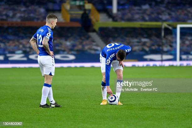 Lucas Digne and Gylfi Sigurdsson Everton during the Premier League match between Everton and Southampton at Goodison Park on March 2021 in Liverpool,...