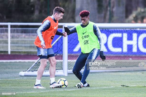 Lucas Digne and Presnel Kimpembe of France during training session at Centre National du Football on March 20 2018 in Clairefontaine en Yvelines...