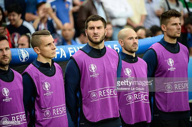 Lucas Digne Andre Pierre Gignac Christophe Jallet and Benoit Costil of France during the GroupA preliminary round match between France and Romania at...