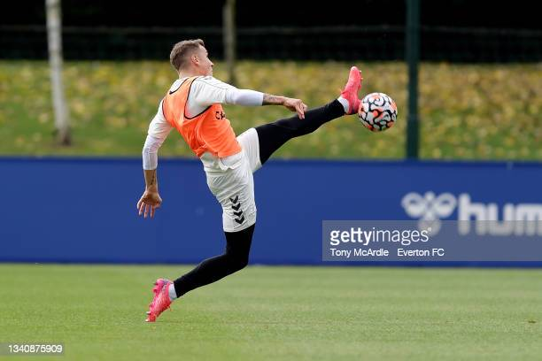 Lucas Digne during the Everton Training Session at USM Finch Farm on September 16 2021 in Halewood, England.