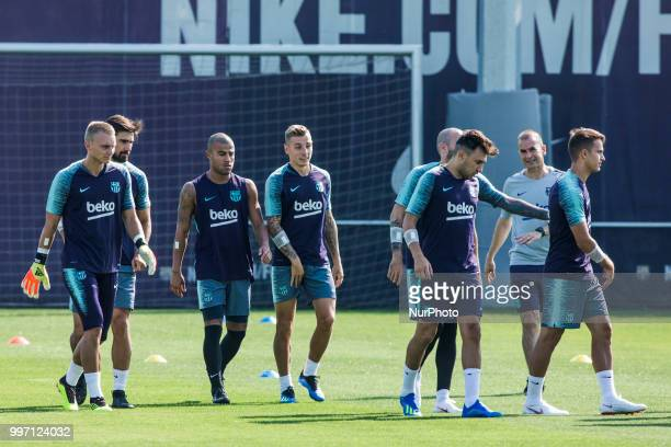 Lucas Digne from France and Rafinha Alcantara from Brasil during the first FC Barcelona training session of the 2018/2019 La Liga pre season in...
