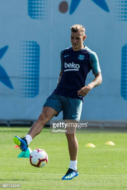 Lucas Digne from France during the first FC Barcelona training session of the 2018/2019 La Liga pre season in Ciutat Esportiva Joan Gamper Barcelona...
