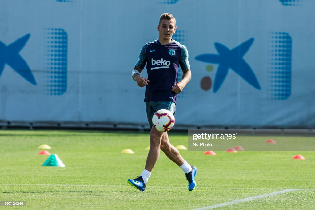 Lucas Digne from France during the first FC Barcelona training session of the 2018/2019 La Liga pre season in Ciutat Esportiva Joan Gamper, Barcelona on 11 of July of 2018.