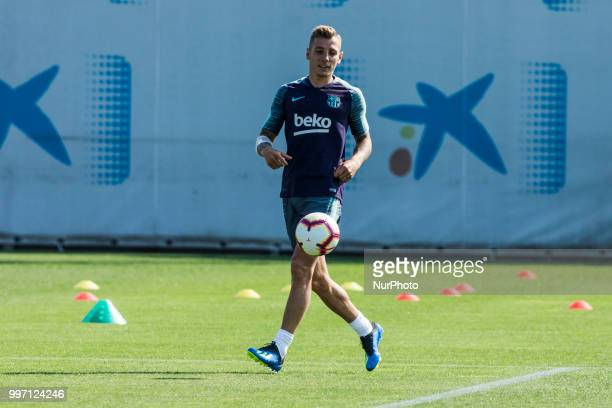 Lucas Digne from France during the first FC Barcelona training session of the 2018/2019 La Liga pre season in Ciutat Esportiva Joan Gamper Barcelona...
