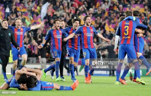 Lucas Digne Ivan Rakitic Neymar Jr Luis Suarez Sergi Roberto Gerard Pique and captain Lionel Messi of Barcelona FC celebrate the victory after the...