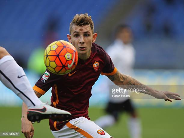 Lucas Digne of AS Roma in action during the Serie A match between AS Roma and Atalanta BC at Stadio Olimpico on November 29 2015 in Rome Italy