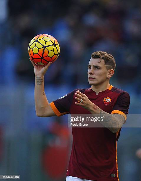 Lucas Digne of AS Roma looks on during the Serie A match between AS Roma and Atalanta BC at Stadio Olimpico on November 29 2015 in Rome Italy