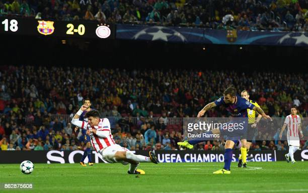 Lucas Digne of Barcelona scores his sides third goal during the UEFA Champions League group D match between FC Barcelona and Olympiakos Piraeus at...