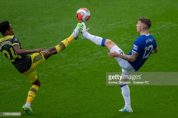 Lucas Digne of Everton and Kyle WalkerPeters of Southampton compete for the ball during the Premier League match between Everton FC and Southampton...