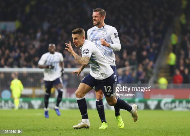 Lucas Digne of Everton celebrates after scoring his team's second goal with Gylfi Sigurdsson during the Premier League match between Burnley FC and...