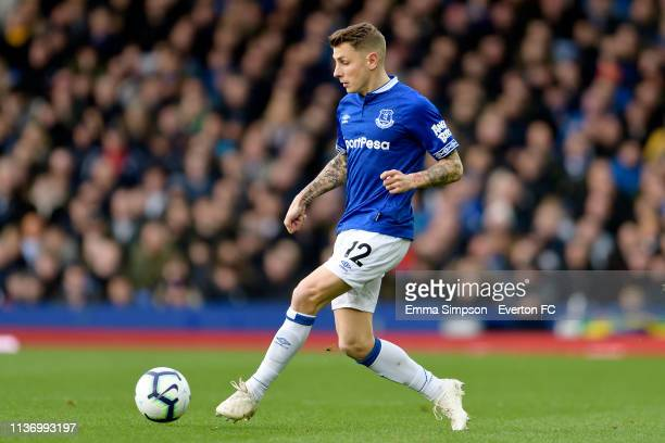 Lucas Digne of Everton during the Premier League match between Everton and Chelsea at Goodison Park on March 17 2019 in Liverpool England