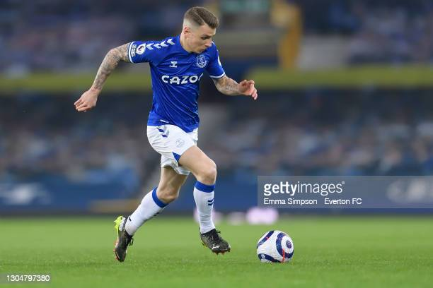 Lucas Digne of Everton during the Premier League match between Everton and Southampton at Goodison Park on March 2021 in Liverpool, England.
