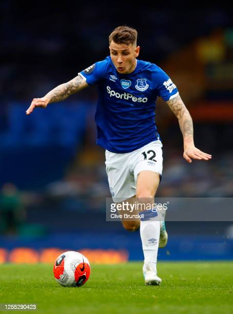 Lucas Digne of Everton in action during the Premier League match between Everton FC and Southampton FC at Goodison Park on July 09 2020 in Liverpool...