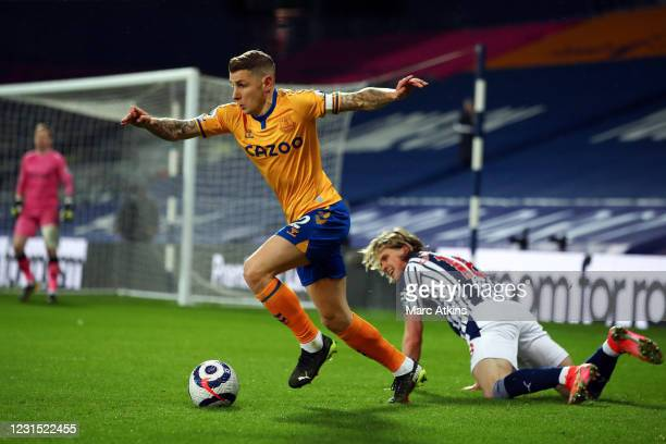 Lucas Digne of Everton in action with Conor Gallagher of West Bromwich Albion during the Premier League match between West Bromwich Albion and...