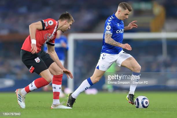 Lucas Digne of Everton on the ball during the Premier League match between Everton and Southampton at Goodison Park on March 2021 in Liverpool,...