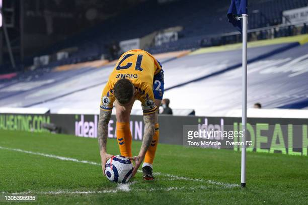 Lucas Digne of Everton prepares for a corner during the Premier League match between West Bromwich Albion and Everton at The Hawthorns on March 4...
