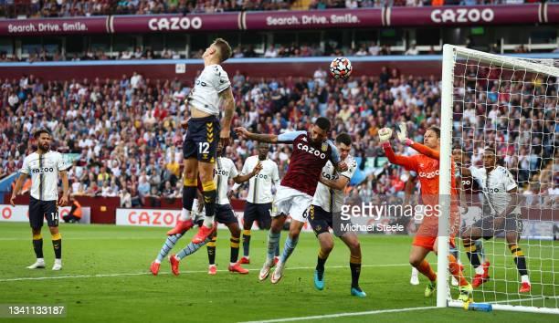 Lucas Digne of Everton scores an own goal for Aston Villa's second goal during the Premier League match between Aston Villa and Everton at Villa Park...