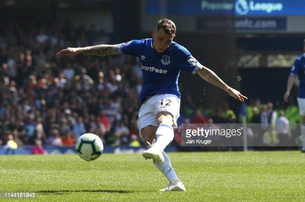 Lucas Digne of Everton scores his team's third goal during the Premier League match between Everton FC and Manchester United at Goodison Park on...