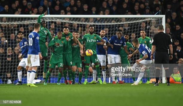 Lucas Digne of Everton scores their second goal to make it 22 during the Premier League match between Everton FC and Watford FC at Goodison Park on...