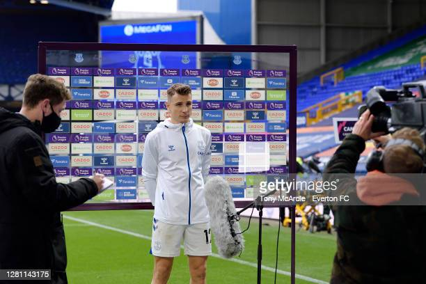 Lucas Digne of Everton speaks to the media after the Premier League match between Everton and Liverpool at Goodison Park on October 17 2020 in...