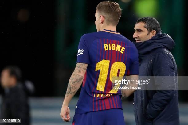 Lucas Digne of FC Barcelona coach Ernesto Valverde of FC Barcelona during the La Liga Santander match between Real Sociedad v FC Barcelona at the...