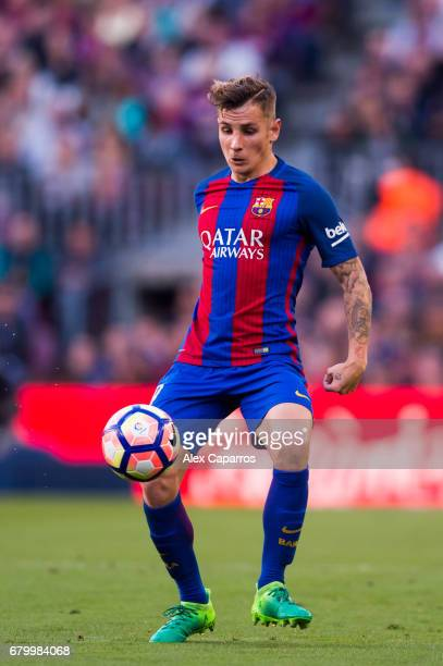 Lucas Digne of FC Barcelona controls the ball during the La Liga match between FC Barcelona and Villarreal CF at Camp Nou stadium on May 6 2017 in...