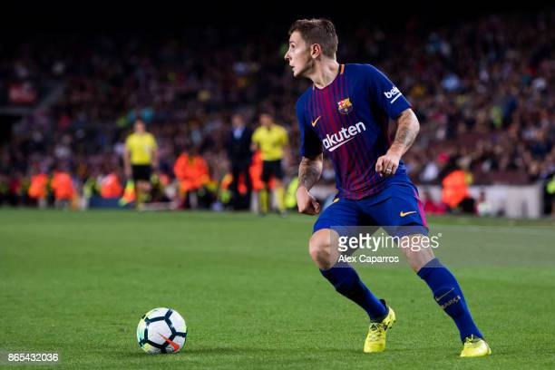 Lucas Digne of FC Barcelona controls the ball during the La Liga match between Barcelona and Malaga at Camp Nou on October 21 2017 in Barcelona Spain