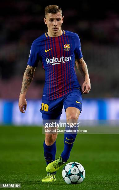 Lucas Digne of FC Barcelona in action during the UEFA Champions League group D match between FC Barcelona and Sporting CP at Camp Nou on December 5...