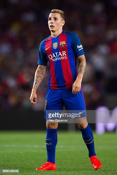 Lucas Digne of FC Barcelona looks on during the Joan Gamper trophy match between FC Barcelona and UC Sampdoria at Camp Nou on August 10 2016 in...