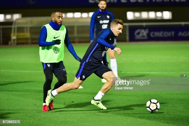 Lucas Digne of France and Alexandre Lacazette of France during the training session at the Centre National de Football in Clairefontaine en Yvelines...