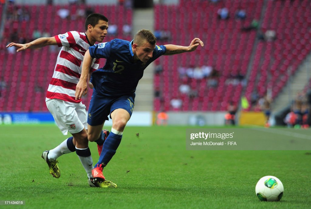 Lucas Digne of France battles with Juan Pablo Ocegueda of USA during the FIFA U-20 World Cup Group A match between France and USA at the Ali Sami Yen Arena on June 24, 2013 in Istanbul, Turkey.