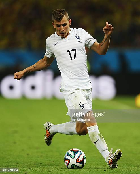Lucas Digne of France controls the ball during the 2014 FIFA World Cup Brazil Group E match between Ecuador and France at the Estadio Maracana on...