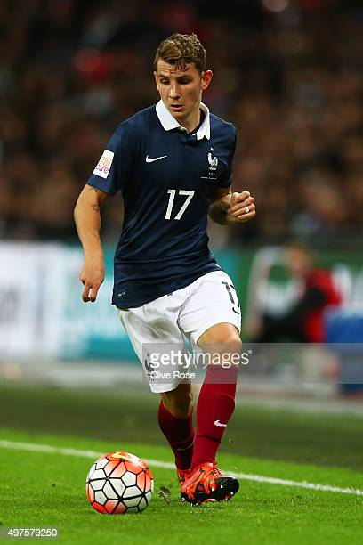 Lucas Digne of France in action during the International Friendly match between England and France at Wembley Stadium on November 17 2015 in London...