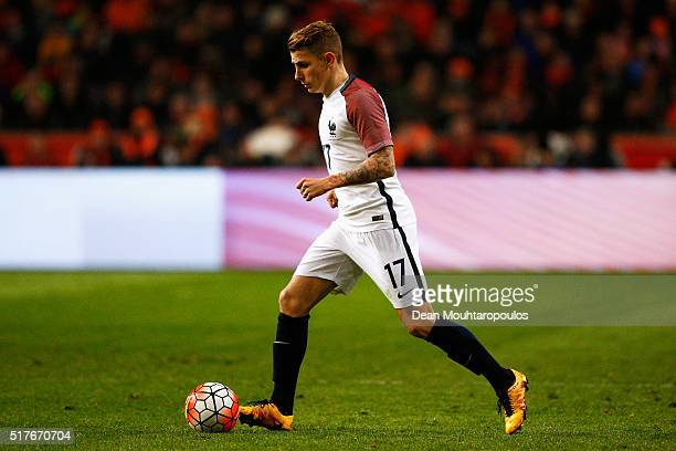 Lucas Digne of France looks on during the International Friendly match between Netherlands and France at Amsterdam Arena on March 25 2016 in...