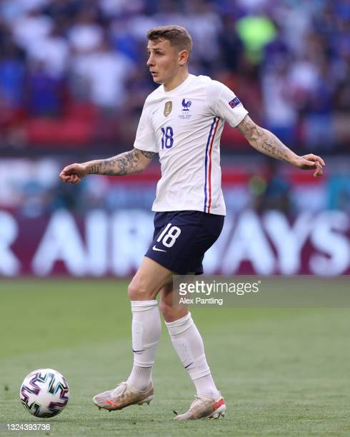 Lucas Digne of France on the ball during the UEFA Euro 2020 Championship Group F match between Hungary and France at Puskas Arena on June 19, 2021 in...