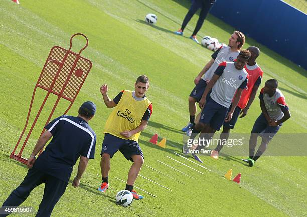 Lucas Digne of PSG in action during day 3 of the Paris SaintGermain Training Camp the Qatar Winter Tour held at the Aspire Academy for Sports...