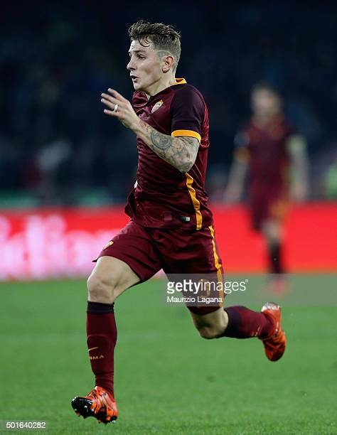 Lucas Digne of Roma during the Serie A match betweeen SSC Napoli and AS Roma at Stadio San Paolo on December 13 2015 in Naples Italy
