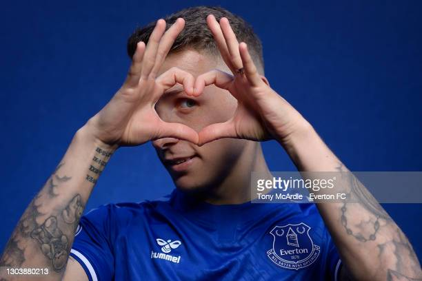 Lucas Digne poses for a photograph after signing a new contract with Everton at USM Finch Farm on February 24 2021 in Halewood, England.
