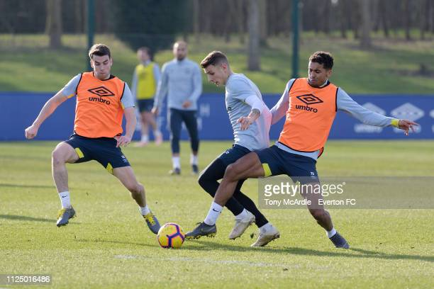 Lucas Digne Seamus Coleman and Dominic CalvertLewin during the Everton training session ahead at USM Finch Farm on February 14 2019 in Halewood...