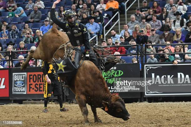 Lucas Divino rides the bull Spotted Fever during the Professional Bullrider's Mason Lowe Memorial on February 15 at Enterprise Center St Louis MO