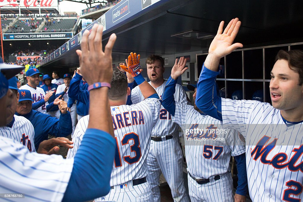 Lucas Duda, (center), #21 of the New York Mets, who hit two home runs, celebrates with teammates after a Asdrubal Cabrera #13 of the New York Mets home run during the Atlanta Braves Vs New York Mets MLB regular season game at Citi Field on May 04, 2016 in New York City.