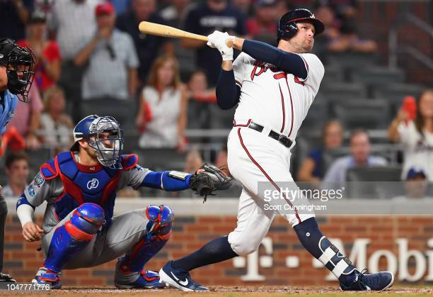 Lucas Duda of the Atlanta Braves hits a foul ball in the eighth inning of Game Four of the National League Division Series against the Los Angeles...
