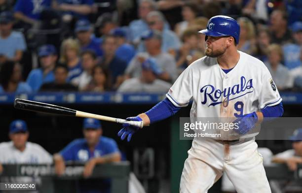 Lucas Duda of the Kansas City Royals at bat against the Cleveland Indians in the seventh inning at Kauffman Stadium on July 3, 2019 in Kansas City,...